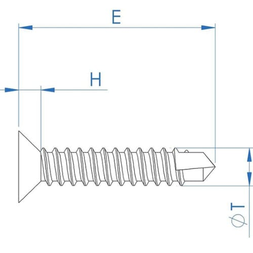 Drawing of a self drilling screw with drill bit tip.